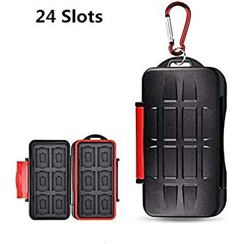 UPZHIJI SD Card Holder,Professional Water-Resistant Anti-Shock Holder Storage SD SDHC SDXC TF Memory Card Case Protector Cover with Carabiner for 12SD ...