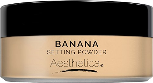 Cosmetics Fine Loose Finishing Powder (Aesthetica Banana Loose Setting Powder – Talc Free Setting Powder / Highlighter for a Superior Matte Finish - Flash Friendly – Includes Luxurious Velour Puff for Flawless Application)