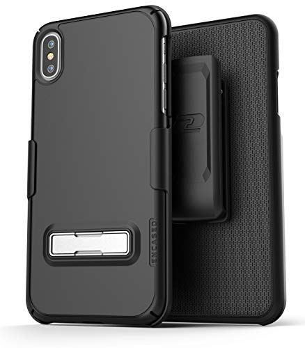 Encased Belt Holster Combo w/Metal Kickstand - Apple iPhone X/iPhone Xs Compatible - Rubberized Slim Fit Cover w/Carrying Clip (Black)