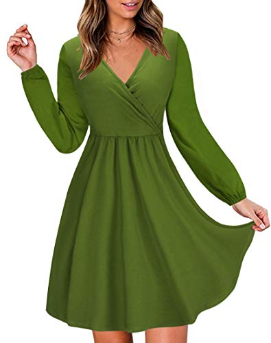 (STYLEWORD Women's V Neck Long Puff Sleeve Casual Dress with Pocket(Army-488,L))