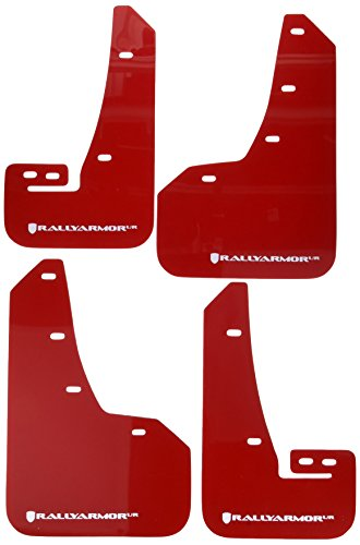 Rally Armor MF32-UR-RD/WH Red, White Mud Flap with Logo (15+ Subaru WRX & STi Sedan Only UR)