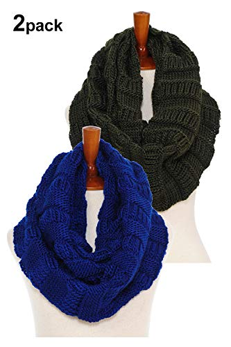 Chunky Wide Knitted Infinity Scarf Warm Circle Loop Various Colors (2pk Ribbed Royal Blue/ Army Green) ()