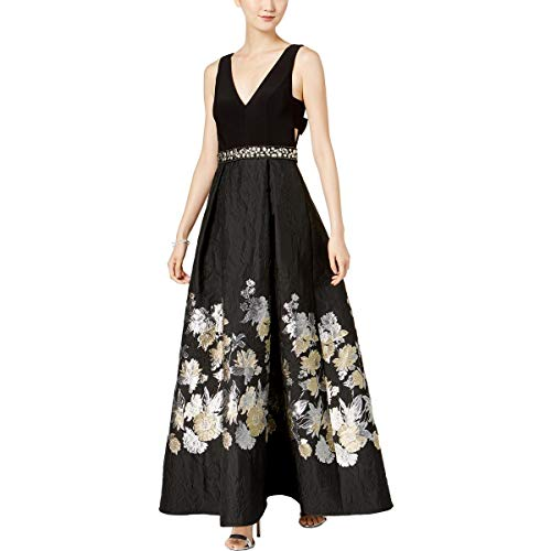 Betsy & Adam Womens Floral Special Occasion Evening Dress Black 4 (Evening & Gown Betsy Adam)