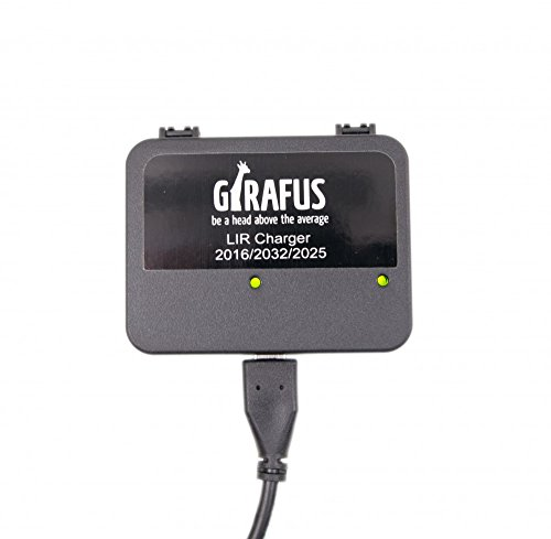 Girafus USB Coin Cell Charger for LIR 2032/2016/2025 with 2x LIR2032 Rechargeable Batteries Included - Replace CR2032 batteries