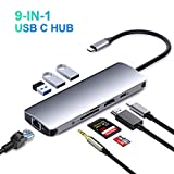 USB C Hub, 9-in-1 USB C Adapter with 4K HDMI, 1Gbps Ethernet Port,USB 3.0 Ports, TF/SD Card Reader, Audio, PD Charging Port Compatible MacBook/Pro/Air and Other Type C Laptops