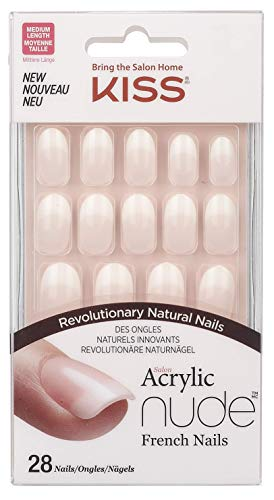 Kiss Salon Acrylic Nude French Nails, Graceful, 28 Count ()