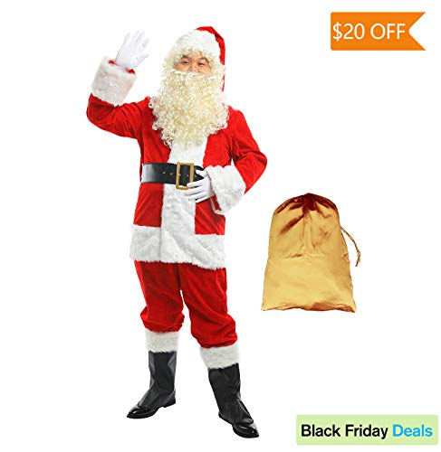 FlyGulls Santa Suit 10 PCS Set Deluxe Plush Classic Santa Claus Costume for Christmas Cosplay (XX-Large)