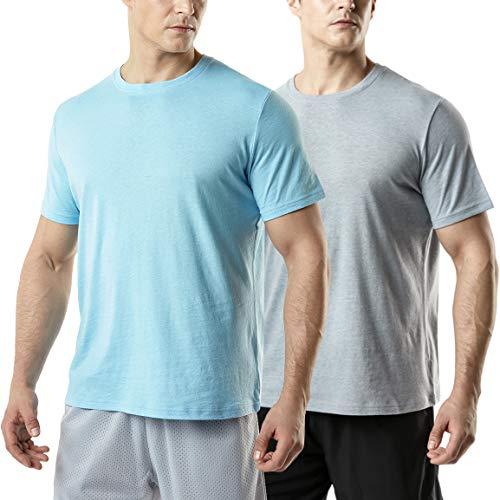 (TSLA Men's (Pack of 2) FlexDri Short Sleeve T-Shirt Athletic Cool Running Top, Active Dyna Cotton 2pack(mts52) - Grey/Light Blue, Medium)
