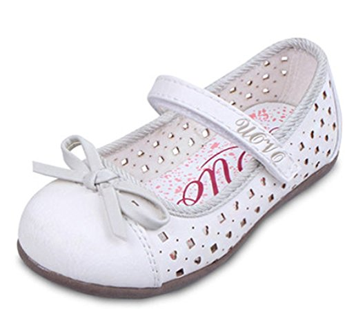 Orlando Johanson New Girls Sweet Bowknot Hollow-Out Princess Shoes FlatsWhite 9 M US Toddler - Fashion Square Orlando