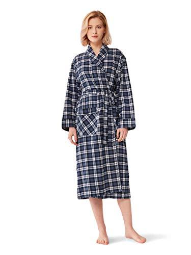 SIORO Womens Robe Flannel Cotton Plaid Bathrobe Soft Shawl Collar Loungewear,Navy - Plaid Womens Robe