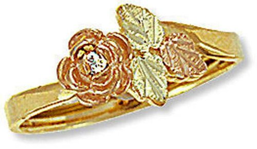 (Landstroms Ladies 10k Black Hills Gold Diamond Ring with Rose - G L02260X)
