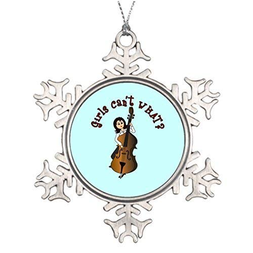 wonbye Christmas Ornaments 2018, Large Decorations Upright String Double Bass Girl Bedroom Girlscantwhat Pattern Metal Snowflake Tree Decoration
