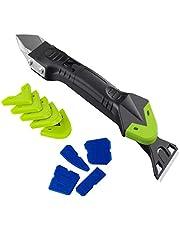 Raburt 5-in-1 siliconen caulking tools afdichtingsgereedschap remover home kit mortel schraper mortel gladde set kalking sealant gereedschap voor tegels keuken badkamer vloer (willekeurig wit en groen)