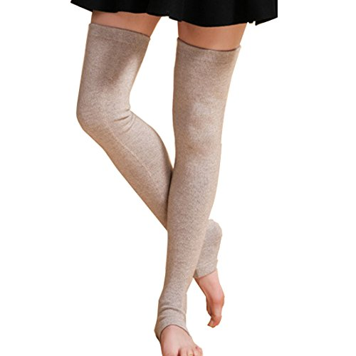 LerBen Womens Warm Cashmere Leg Warmers Long Soft Knee High Legging Socks