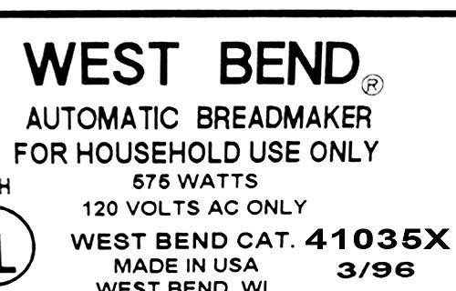 West Bend Pan máquina remo 41073 41035 X amasar hoja parte ...