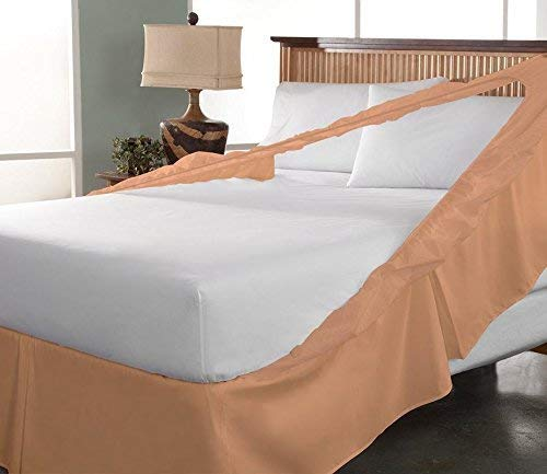 Wrap Bed Skirts - Wrap Around Bed Skirt 21 Inches Drop 100% Cotton 400 Thread Count Easy On/Easy Off Skirt Solid (King, Peach)