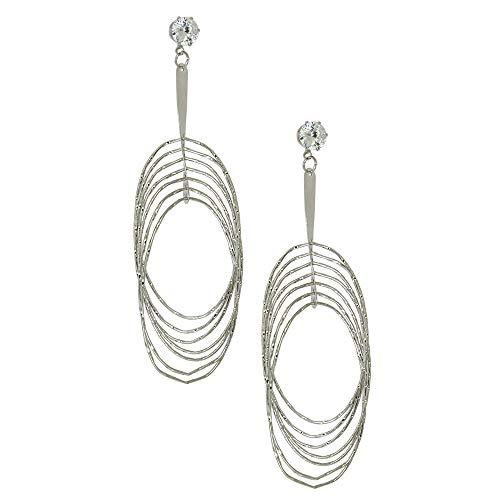 Cubic Zirconia Gold Hoop Earrings for Women Girls Twisted Oval Dangle Wire Rings Earrings Diamond Sparkle Cut Plated Stainless Steel Drop Jewelry Hanging Multi-layer Metal Dangle Earring