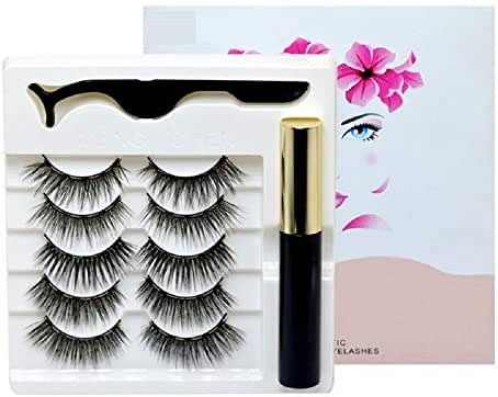Magnetic Eyeliner and Lashes Kit, 3D Magnetic Eyelashes,No Glue With Reusable Lashes,Easier To Use Than Traditional Magnetic Eyelashes(5 Pairs) (Mix-1)