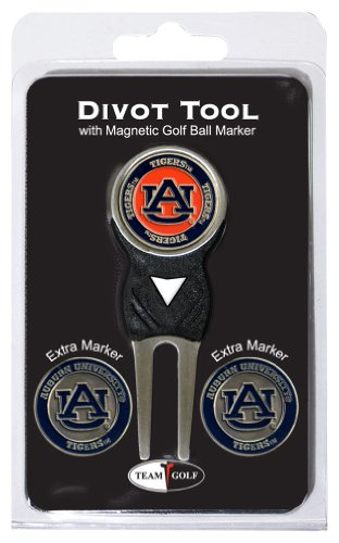 Team Golf NCAA Auburn University Tigers Divot Tool with 3 Golf Ball Markers Pack, Markers are Removable Magnetic Double-Sided Enamel