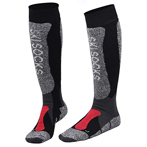 Fitself Thermolite Winter Ski Socks Snow Snowboard Over The Calf Warm Padded Knee High Performamce 1 Pair/2 Pairs for Mens ()