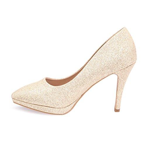 De Sintético Mujer La Vestir Zapatos Dorado Modeuse Material wxqPB