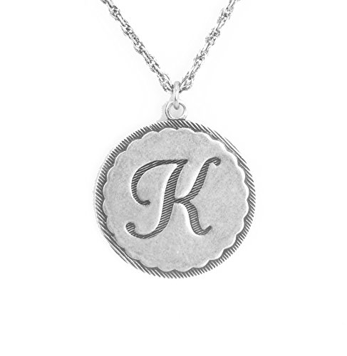 Steel Stamped Coin Necklace K (Silver) - 2