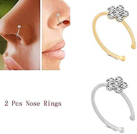 Amazon Com Yuren 2pcs Small Thin Flower Clear Crystal Nose Ring