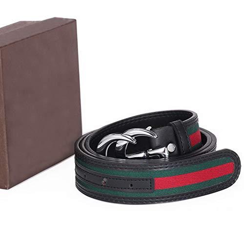 Fashion Leather Alloy Buckle Belt for Men or Women Pants Jeans Shorts ~ 3.8cm Belt Width (silver buckle, 34