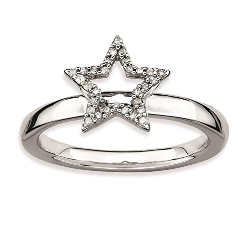 925 Sterling Silver Polished Rhodium-plated Star Diamond Ring by Stackable Expressions Size 9