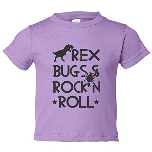Niños Divertido Rex jóvenes 'REX Bugs & Rock N Roll bebé playera de Rock N Roll,  Lila , XS (4-6) Youth