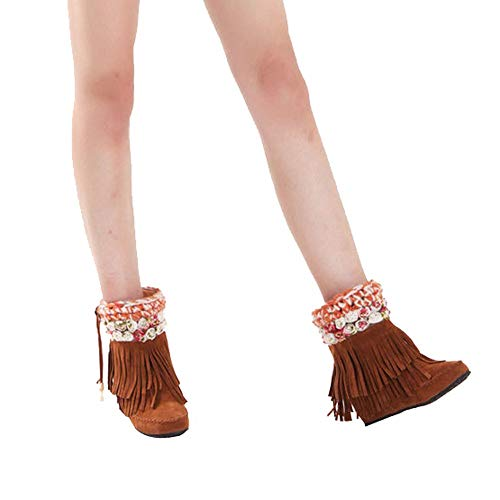 Heel Womens Fashion Boots Boots Suede Boots Yellow Short Flat Boots Snow Tube Fringed rgxzBr