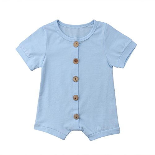 Infant Newborn Baby Boys Girls Romper Bodysuit Jumpsuit Outfits Overalls Clothes 0-24 M (0-6 Months, Light Blue)