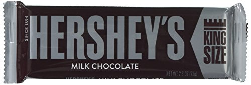 HERSHEY'S Chocolate Bar, Milk Chocolate Candy Bar, 2.6 Ounce Bar (Pack of 18)