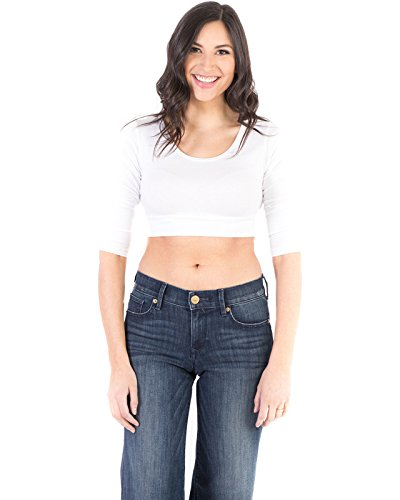 Halftee Crop Top - Demi Cami For Women - Any Time Anywhere - 48 percentage Cotton 48 percentage Modal 4 percentage Spandex, White, X - Large
