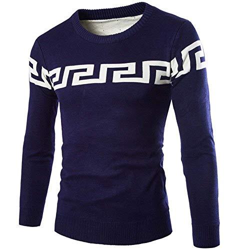 Otoño Hombres Invierno Targogo Color Gruesos Suéter Cuello Coreano Deletreo Modernas Pullover Azul El Los De Y Redondo Delgado 4q5W1H5
