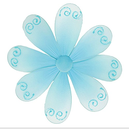 "Hanging Flower 10"" Medium Blue Swirls Mesh Nylon Flowers Decorations Decorate Baby Nursery Bedroom Girls Room Ceiling Wall Decor Wedding Birthday Party Baby Shower Bathroom Kids Childrens 3D Art DIY"