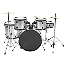 Drum Set 5 Pc Complete Adult Set Cymbals Full Size Silver New Drum Set