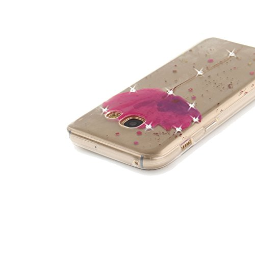 StarryON Fashion Design Funda Samsung Galaxy A3 2017, Hermosa Flor Patrón Flexible TPU Silicona Slim Funda IMD (In-Mold Decoration) Diseño Anti-Scratch Anti Fade Antideslizante Teléfono Protectora Dia Orquídeas Púrpura