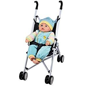 Baby Doll Foldable Pink / Blue Stroller Buggy Jogger Dolls Pram Dolls Accessories Toy (Blue)
