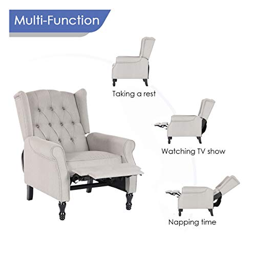 Artechworks Pushback Manual Recliner, Single Recliner Armchair, Fabric Club Chair for Living Room, Grey Color
