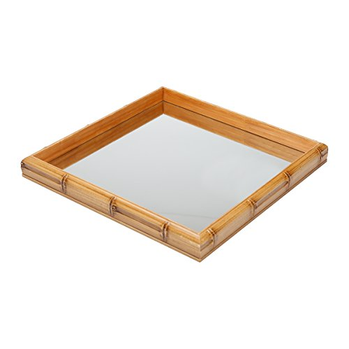 Woodart Bamboo Style Serving Tray- Decorative Tray for Vanity, Tea, Coffee (11x11