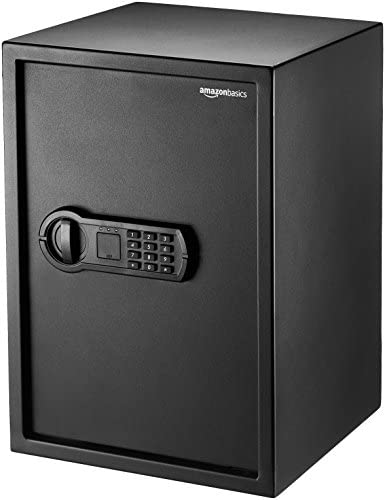 Amazon Basics Steel Home Security Safe with Programmable Keypad – Secure Documents, Jewelry, Valuables – 1.8 Cubic Feet, 13.8 x 13 x 19.7 Inches, Black