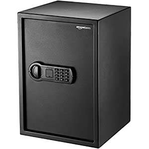 Amazon Basics Home Keypad Safe – 1.8 Cubic Feet, 13.8 x 13 x 19.7 Inches, Black – 50SAM
