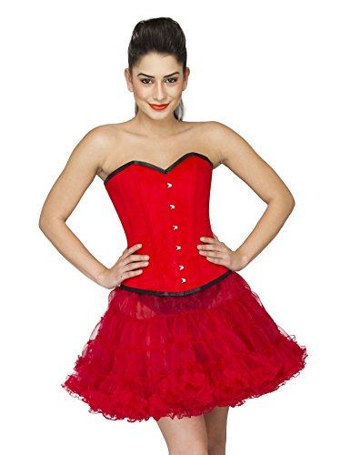 ささやき決済地元Red Velvet Gothic Burlesque Halloween Costume Waist Training Overbust Corset Top