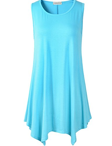 Lanmo Women Plus Size Solid Basic Flowy Tank Tops Summer Sleeveless Tunic(1X, Light - Shirt Jacket Tunic