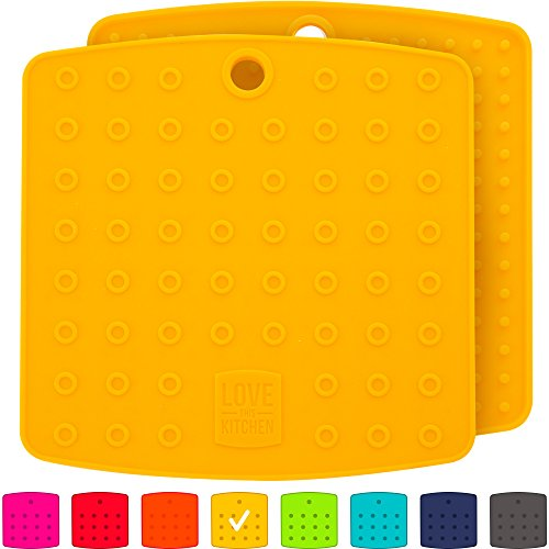 "Premium Silicone Trivet Mats/Hot Pads, Pot Holders, Spoon Rest, Jar Opener & Coasters - Our 5 in 1 Kitchen Tool is Heat Resistant to 442 °F, Thick & Flexible (7"" x 7"", Mustard Yellow, Set of 2)"