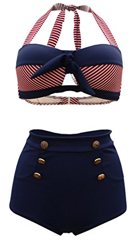 QZUnique Women's Retro Print Halter Bottons High Waist Bikini Push Up Swimsuit Navy and Red US 12-14 by QZUnique
