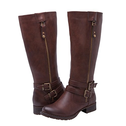 Global Win Women's KadiMaya1625-3 Boots - High Womens Brown Knee Boots