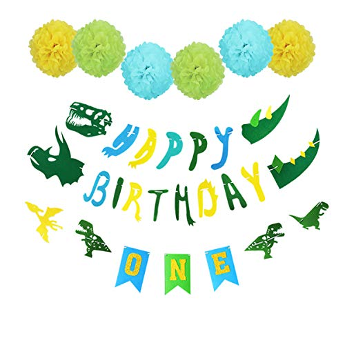 (Dinosaur Happy First Birthday Banner Blue for 1 st Birthday Baby Boys Party Decorations-Gold ONE Highchair Banner Dinosaur Decorations with Green Blue Tissue Pom Poms Flowers, 30)