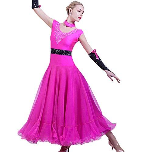 Liscio Standard Senza Le L Da Abito Latino Rose Per Moderna l Tango Abiti Wqwlf Valzer Partito Donne Ballo Maniche Flamenco Costumi Prestazioni Swing w4qEggn8